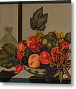 Still Life With Fruit And Wine Metal Print