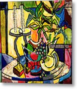 Still Life With Fruit Candles And Bamboo Metal Print by Everett Spruill