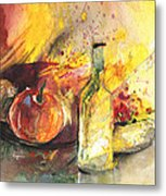 Still Life With Fruits And Flowers And Bottle Metal Print