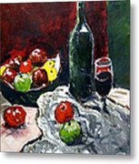 Still Life With Fruits And Wine Metal Print