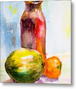 Still Life With Jug And Fruit Metal Print