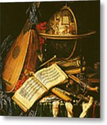 Still Life With Musical Instruments Oil On Canvas Metal Print
