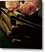 Still Life With Old Books And Two Pink Roses Metal Print