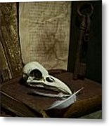 Still Life With Old Books Rusty Key Bird Skull And Feathers Metal Print