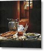 Still Life With Olives And Fish Metal Print by Victor Mordasov