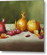 Still Life With Onions And Grapes Metal Print