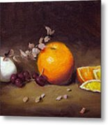 Still Life With Orange And Egg Metal Print