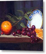 Still Life With Orange And Grapes Metal Print