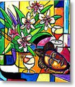Still LIfe with Orchids and African Mask Metal Print