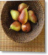 Still Life With Pears And A Rattan Bowl. Metal Print by Diane Diederich