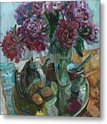 Still Life With Peonies Metal Print