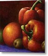 Still Life With Peppers And Olives Metal Print