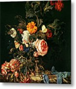 Still Life With Poppies And Roses Metal Print