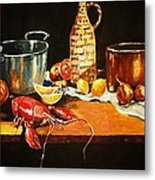 Still Life With Pots Fruit Etc. Metal Print