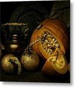 Still Life With Pumpkin And Onions Metal Print
