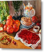 Still Life With Raspberries And Apples Metal Print