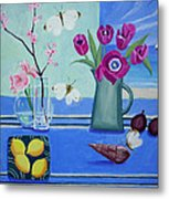 Still Life With Sea View Sold Metal Print