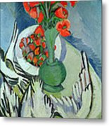 Still Life With Seagulls Poppies And Strawberries Metal Print