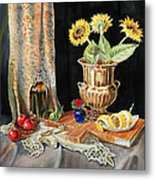 Still Life With Sunflowers Lemon Apples And Geranium  Metal Print