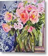 Still Life With Two Blue Ginger Jars Metal Print by Joan Thewsey