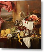Still Life With View Metal Print