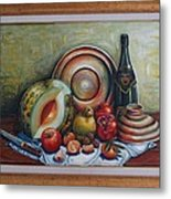 Still Life With Water Melon Metal Print