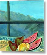 Still Life With Watermelon Oil & Acrylic On Canvas Metal Print