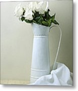 Still Life With White Roses Metal Print
