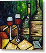 Still Life With Wine And Cheese Metal Print