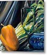 Still Life With Yellow Pepper Bok Choy Glass And Dish Metal Print