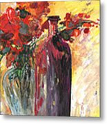 Still Live With Flowers Vase And Black Bottle Metal Print