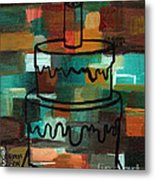 Stl250 Birthday Cake Earth Tones Abstract Metal Print