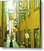 Stockholm City Cafe Metal Print