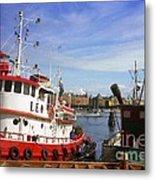 Stockholm Harbor Ships Metal Print