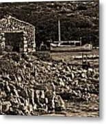 Roman Port Of Sa Nitja In Minorca - Stone And Sea Sephia Version Metal Print