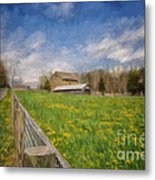 Stone Barn On A Spring Morning Metal Print