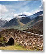Stone Bridge In Mountain Landscape Metal Print