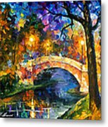 Stone Bridge - Palette Knife Oil Painting On Canvas By Leonid Afremov Metal Print