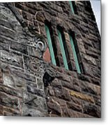 Stone Building Facade With Trefoil Window And Carved Detail Metal Print