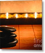 Stone Cairn And Candles For Quiet Meditation Metal Print by Olivier Le Queinec