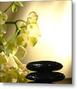 Stone Cairn And Orchids Metal Print by Olivier Le Queinec