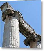 Stone Carved Columns At The Temple Of Aphrodite  Metal Print