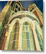 Stone Church Exterior Facade Windows At Night Metal Print