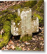 Stone Cross In The Forest Metal Print