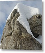 Stone Lion Covered With Snow Metal Print