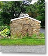 Stone Well Cover And Wheel Metal Print