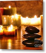 Stones Cairn And Candles Metal Print