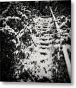 Stony Steps Covered With Snow Metal Print