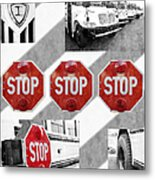 Stop For Students Painterly Bw Red Signs Metal Print