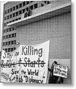 Stop The Killing Say No To Israel Anti-war Protestors Tucson Arizona 1991 Metal Print